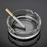 Star Work Ashtray Glass Round Cigar Cigarette Table top Ash Tray Indoor Outdoor Home Decor Set of (1)