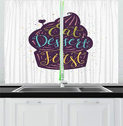Eat Dessert First Kitchen Curtains, Typography on Doodle Cupcake with Heart on and Colorful Paint Splashes, Window Drapes 2 Panel Set for Kitchen Cafe Decor, Multicolor 110x90 in - Daisy Cupcake Liner