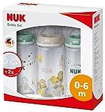 NUK  First Choice Vorteils-Set mit 3x 300 ml PA-Babyflaschen und zwei Ersatzsaugern, ab 0 Monate - 2