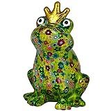 Pomme Pidou Hucha King Frog Theo | Hucha rana rey original en cerámica | verde con flores |...