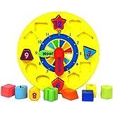 Happy Cherry - Puzzle y Reloj de Tiempo con Bloques de Geometría y Números Juguete Educativo de Madera para Aprendizaje de Bebés Niños Niñas Edad 1 Años y Más