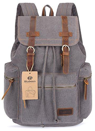 Imagen de bluboon vintage  de lona para hombre/mujer casual backpack canvas rucksack gris