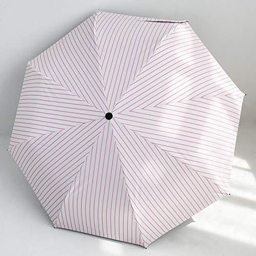 Lila Rosa Streifen (JIANG Regenschirm weiblich Regen und Regen Dual-Use-kleinen frischen Studenten Taschenschirm männlich Sonnenschutz UV-Regenschirm Sonnenschirm weiß Liebe 98cm, lila rosa vertikale Streifen)