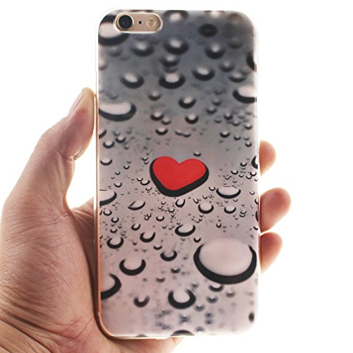 XiaoXiMi iPhone 5/5S Hülle Gel Gummi Silikon Schutzhülle für iPhone 5/5S Soft TPU Silicone Case Cover Weiche Flexible Schale Schlanke Glatte Tasche Ultra Dünne Leichte Etui Kratzfeste Stoßfeste Handyh Rotes Herz und Wassertropfen