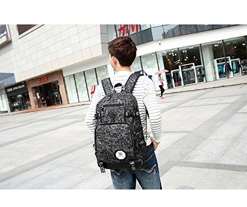 Ohmais Rücksack Rucksäcke Rucksack Backpack Daypack Schulranzen Schulrucksack Wanderrucksack Schultasche Rucksack für Schülerin schwarz Blume