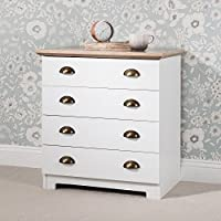Laura James Chest of Drawers 4 Drawer White(CUP/SHELL HANDLE)