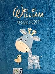 Babydecke bestickt mit Name und Geburtsdatum/kuschelig weich / 1A Qualität (Blau - GIRAFFE)