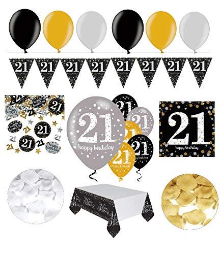 tagsdeko 21. Geburtstag   31 Teile Deko-Set Luftballon Wimpel Girlande Konfetti Serviette Tischdecke Gold Schwarz Silber metallic Party-Set ()