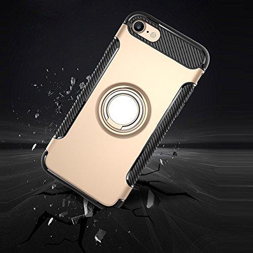 Wkae Ring Armour TPU + PC 360 degrés Rotation magnétique Phone Ring Stent Combinaison Case pour iPhone 7 Phone ( Color : Gold ) Gold