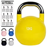 Kettlebell Competition 12 kg | Professional Studio Qualität | inkl. Übungsposter | Wettkampf Kugelhantel