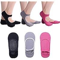 JuanYa Yoga Barre Socks Grippy Non Slip Skid Cotton Socks for Barre Pilates Ballet, 3 Pairs