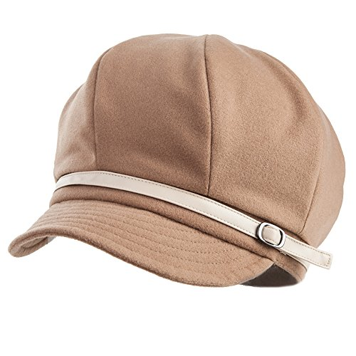 SIGGI Baumwolle Camel Zeitungsjunge Mütze Barett Mütze Schirmmütze Cabbie (Chauffeurmütze) Für Damen Mit Visier Hut Baskenmütze