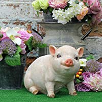 Ablerhome Decor Sitting Pink Pig Garden Ornament Piglet Sculptures Patio Animal Decorative Statue NEW