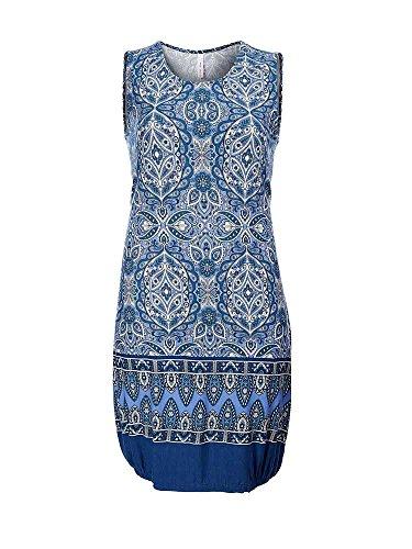 Sheego Trend Damen Kleid aus Shirtstoff // blau gemustert // 328816