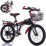 Faltbare Tragbare Kinder Fahrrad Kinder Fahrrad 22 Zoll Student Mountainbike Variable Geschwindigkeit Fahrrad Geeignet Für Höhe 135-165 cm (Farbe : SCHWARZ)