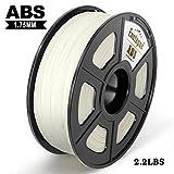 White ABS 3D Printer Filament, Dimensional Accuracy +/- 0.02 mm, 1KG/Spool,1.75...
