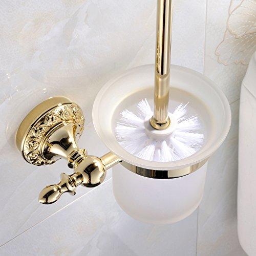 Weare Home Wandmontage Badzubehör Modern Ti-PVD Finish Messing Material Farbe Gold WC-Bürstenhalter und WC-Bürste Badzimmer Accessories Gold Stand