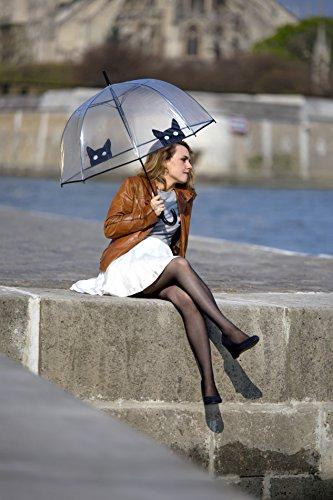 SMATI transparenter Automatik-Stockschirm Glockenform mit Katze – Regenschirm Damen (Katze) - 3