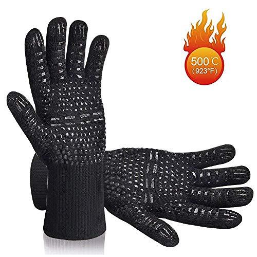 dingfengkeji Grillhandschuhe - (EIN Paar) - Hitzebeständig Bis Zu 500°C - Nach EN407 Zertifiziert - Extra Lang Schutz - Ofenhandschuhe - Kaminhandschuh (Schwarz)
