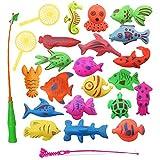 EXQUILEG Badewannenspielzeug Bad Angeln Spielzeug Badespielzeug Angelspiel Lernspiel für Baby Kinder mit Einer Magnetischen Angelrute,Netz und 20 Meer Cartoon Tiere