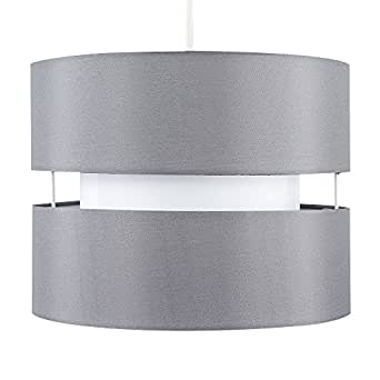 Modern 2 Tier Cylinder Ceiling Pendant Light Shade in a Grey Finish