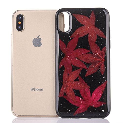 Mobiltelefonhülle - Für iPhone X Schwarz Epoxy Tropf Pressed Echte Getrocknete Blume Weiche Schutzhülle ( SKU : Ip8g0987k ) Ip8g0987c