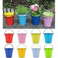 vasi di fiori, riogoo ferro in vasi di fiori, terrazza giardino pentole muro piantatori metal secchio fiore titolari - portatili stile (8