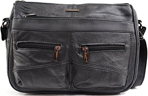 Damenumhängetasche aus Leder mit besonderer Ausstattung Schwarz