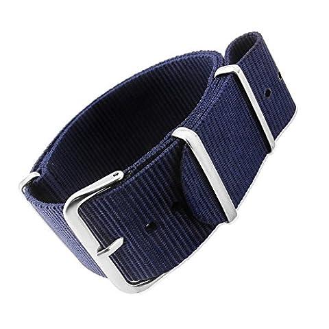 Mi-Watch OTAN G10 Bracelet de montre en nylon Style militaire 18mm 20mm 22mm et 24mm Noir bleu gris orange kaki et vert olive, Zulu Nato, bleu
