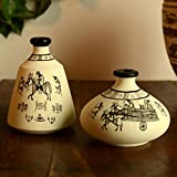 ExclusiveLane Terracotta Warli Handpainted Set Of 2 Pots In White - Room Decorative Items Vase Gift Item Flower Vase