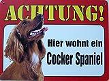 Schild 14x19cm - Hier wohnt ein Cocker Spaniel Hund Haus Alu Coupon dipond