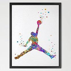 dignovel Studios jugador de baloncesto acuarela ilustración art print Wall Art Póster de decoración para el hogar para colgar de pared para cuarto de juegos cumpleaños regalo baloncesto arte n048-unframed N048-Michael Jordan Talla:A4: 21.0 x 29.7cm