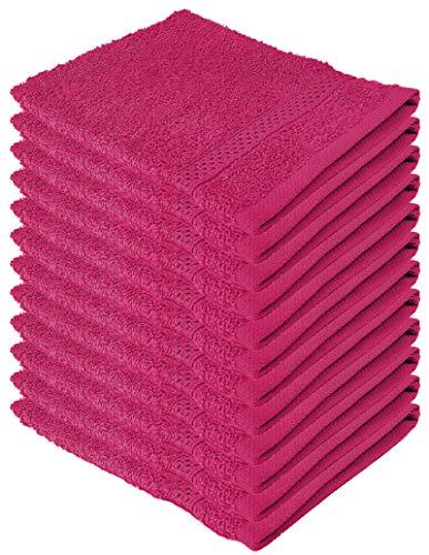 Hotel Waschlappen (My-goodbuy24 Waschhandschuh Waschlappen - 100% Baumwolle - 12-er Set - 16 x 21 cm - weich und saugstark - mit Aufhänger (Pink))