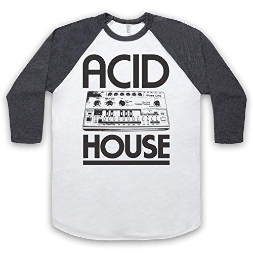 Acid House Bass Synth 3/4 Hulse Retro Baseball T-Shirt Weis & Dunkelgrau