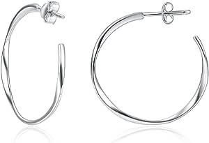 925 Sterling Silver Twisted, Love Heart, Square Geometric Hoop Earrings, Two-tone Oval Earrings for Women
