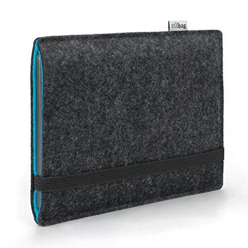Stilbag e-Reader Hülle Finn für Tolino Epos | Wollfilz anthrazit/Azur | Schutzhülle Made in Germany