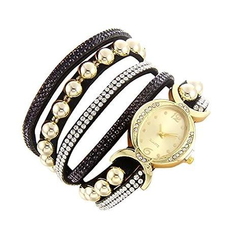 Minshao Mode Multi couches simili cuir Band Strass Perles Chaîne à quartz Bracelet montre-bracelet pour coffret cadeau pour femme noir
