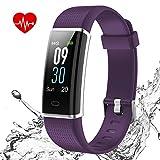 ISWIM Orologio Fitness Tracker Impermeabile IP68 Smartwatch Android iOS Cardiofrequenzimetro da Polso Smart Watch Uomo Donna Bambini Contapassi Calorie Corsa Sport (Viola)