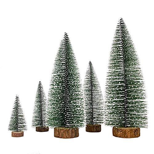XONOR 5 Pezzi di plastica Artificiale di Natale Alberi di Neve di Sisal con LED Luce Stringa Fata, Ornamenti da Tavolo Alberi per la Festa di Natale Decorazione della casa