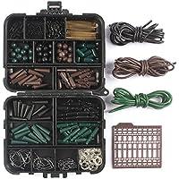 LinTimes Juego de aparejos de pesca de carpas con clips seguridad de plomo, anzuelos giratorios rápidos, tubos, tapones de cebo y mangas antienredos (187)
