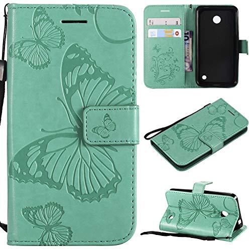 Ycloud PU Leder Tasche für Nokia Lumia 635 Cover aus Kunstleder Wallet Flipcase mit Standfunktion Kartenfächer Entwurf Grün Schmetterling Hülle für Nokia Lumia 635