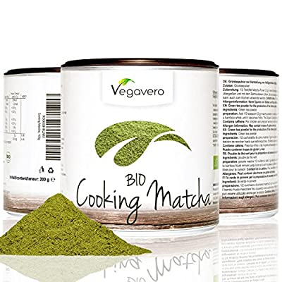 Bio Thé Vert Matcha pour cuisson | Haute Qualité | Une boite qui permet de préserver l'arôme | 100% BIO et Naturel | Végétarien/Végétalien | Remboursement Garantie | 1 Boite