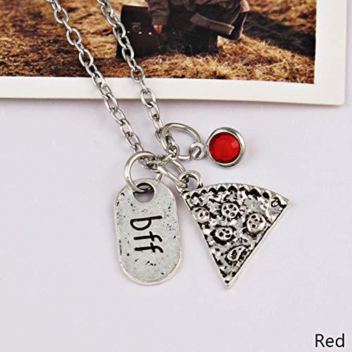 e Halskette, Legierung, Silber, Slice Pizza, bunt, Kristall, Anhänger Best Friend Forever Freundschaft, Halskette für Damen und Mädchen - rot ()