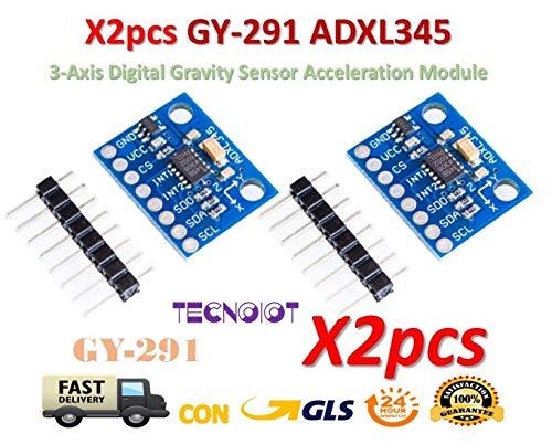 TECNOIOT 2pcs GY-291 ADXL345 3-Axis Digital Gravity Sensor Acceleration Module Tilt | 2pcs GY-291 ADXL345 Modulo di accelerazione di gravità inclinazione Digitale a 3 Assi