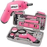 Apollo Pink DIY Werkzeugkset mit 4 V LION Elektro-Schraubenzieher mit Handwerkzeugen …