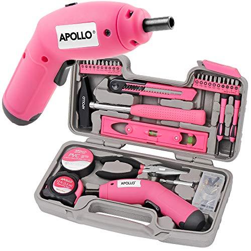 Apollo Pink DIY Werkzeugkset mit 4 V LION Elektro-Schraubenzieher mit Handwerkzeugen ...