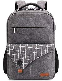 Lekesky Laptop Backpack 15.6 Inch Computer Rucksack with USB Charging Port