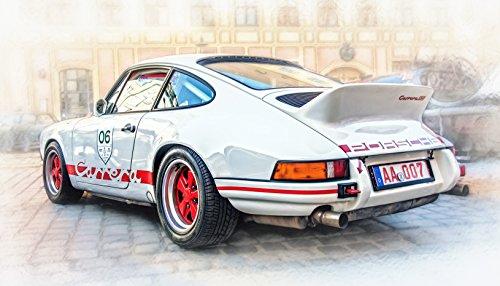 73 Kunst (Kunst Druck 73er Porsche 911 Carrera RS 2.7 Oldtimer Leinwand PosterTapete Mousepad Acrylglas Aluminium BalsaHolz Aufkleber (Aufkleber robust, 51 x 29 cm))