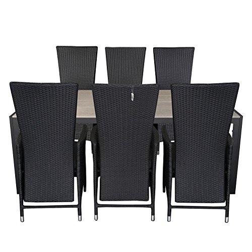 7tlg-gartengarnitur-gartentisch-205x90cm-polywood-tischplatte-aluminium-poly-rattansessel-ruckenlehn