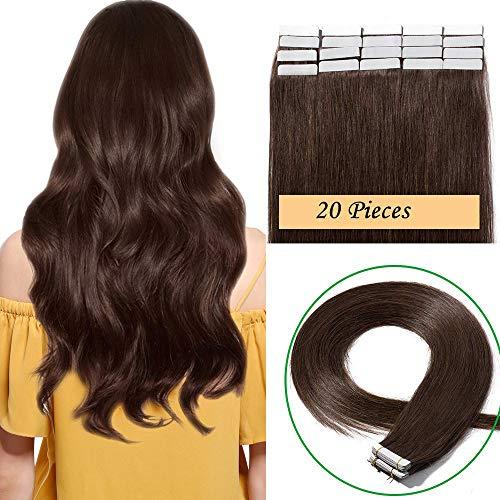 Extension capelli veri biadesivo 20 fasce adesive capelli lisci naturali castani 40g tape extension 100% human hair 2g/fascia 14